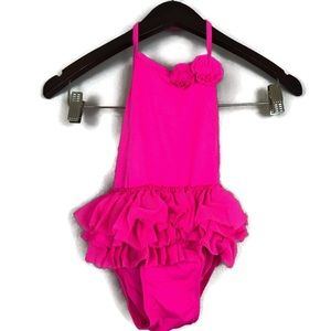 Old Navy One Piece Ruffle Girls Swim Suit Sz 4T